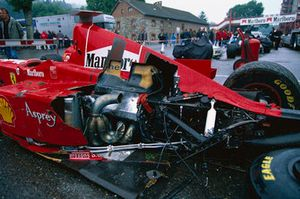 The car of Eddie Irvine, Ferrari F300 after the crash