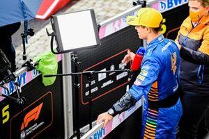 Pole man Lando Norris, McLaren, is interviewed after Qualifying