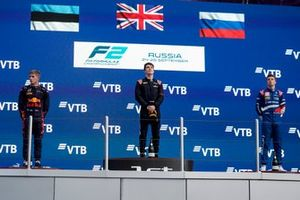 Juri Vips, Hitech Grand Prix, 2nd position, Dan Ticktum, Carlin, 1st position, and Robert Shwartzman, Prema Racing, 3rd position, on the podium
