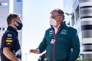 Otmar Szafnauer, Team Principal and CEO, Aston Martin F1, talks to Christian Horner, Team Principal, Red Bull Racing