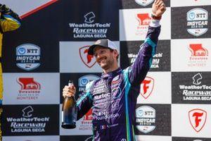 Romain Grosjean, Dale Coyne Racing with RWR Honda, podium, champagne