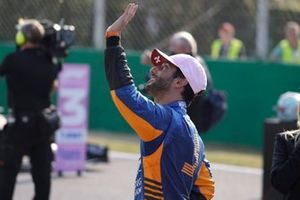 Daniel Ricciardo, McLaren, 3rd position, waves to fans