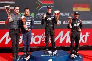 Podium: Race winner Kelvin van der Linde, Abt Sportsline, second place Alex Albon, AF Corse, third place Mike Rockenfeller, Abt Sportsline, Florian Modlinger, Abt Sportsline