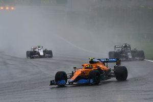 Lando Norris, McLaren MCL35M, Yuki Tsunoda, AlphaTauri AT02, and Mick Schumacher, Haas VF-21