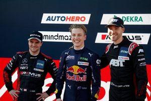 Top 3 after Qualifying, Lucas Auer, Mercedes AMG Team Winward, Pole sitter Liam Lawson, AF Corse, Kelvin van der Linde, Abt Sportsline