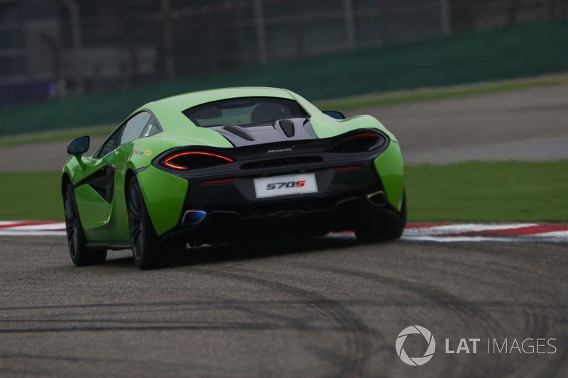 A McLaren 570S is driven in Pirelli Hot Laps