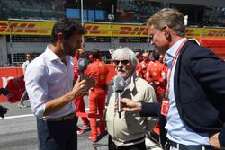 Bernie Ecclestone, talks with David Coulthard, Channel 4 F1 and Mark Webber, en la parrilla