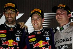 Podium: second place Mark Webber, Red Bull Racing, Race winner Sebastian Vettel, Red Bull Racing, third place Nico Rosberg, Mercedes AMG