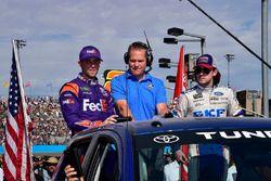 Denny Hamlin, Joe Gibbs Racing Toyota, Marty Snider, Ryan Blaney, Wood Brothers Racing Ford