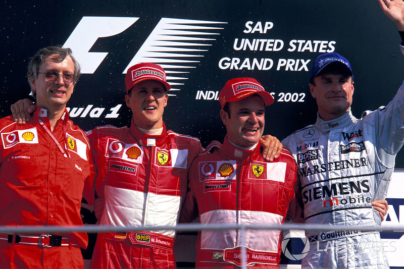 2002: 1. Rubens Barrichello, 2. Michael Schumacher, 3. David Coulthard