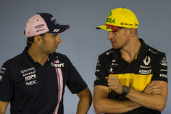 Sergio Perez, Force India and Nico Hulkenberg, Renault Sport F1 Team in the Press Conference