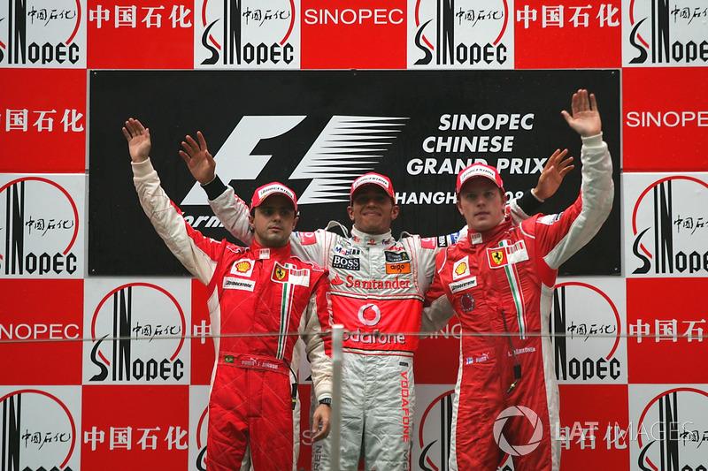 2008: 1. Льюис Хэмилтон, 2. Фелипе Масса, 3. Кими Райкконен