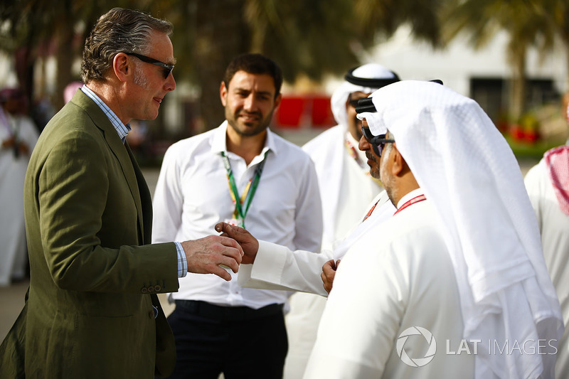 Sean Bratches, Managing Director of Commercial Operations, Formula One Group, talks with Crown Princ