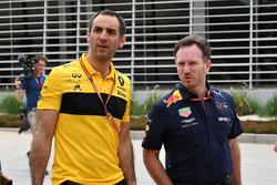 Cyril Abiteboul, Renault Sport F1 Managing Director and Christian Horner, Red Bull Racing Team Principal