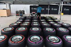 Mecánico de Mercedes AMG F1 y neumáticos de Pirelli