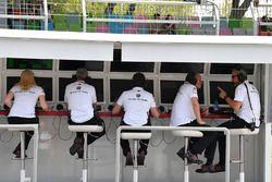 Le portique de l'équipe Sauber sur le muret des stands