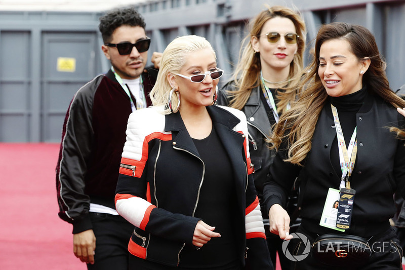 Christina Aguilera arrives in the paddock