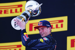 Max Verstappen, Red Bull Racing, 1st Position, with his trophy