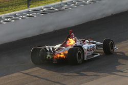 Matheus Leist, A.J. Foyt Enterprises Chevrolet on fire