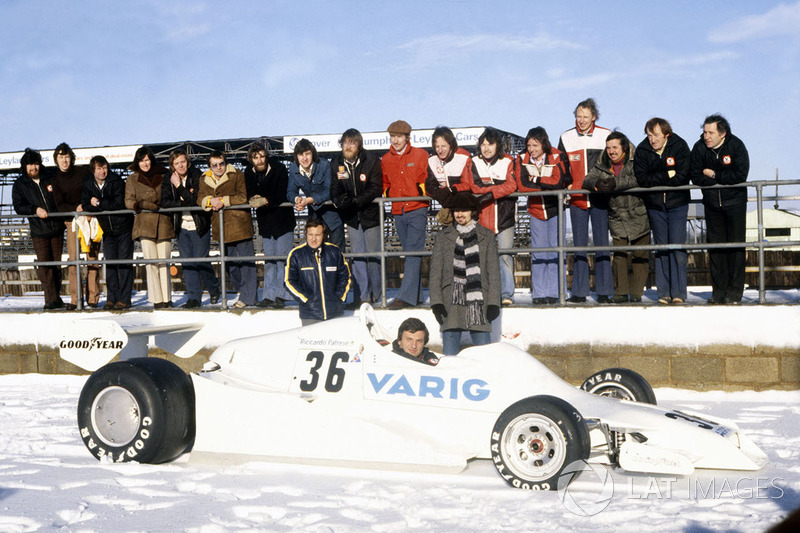 Arrows FA1 at a snow-covered Silverstone (1978)