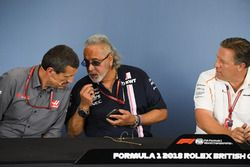 Guenther Steiner, Team Prinicipal, Haas F1 Team, Dr. Vijay Mallya, Force India Formula One Team Owner and Zak Brown, McLaren Racing CEO in the Press Conference