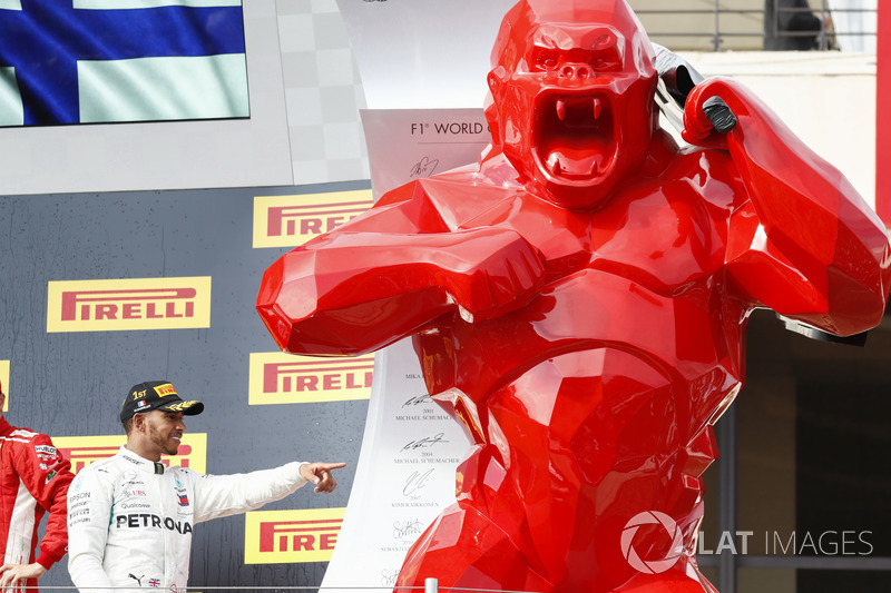 Lewis Hamilton, Mercedes AMG F1, 1st position, a huge red gorilla on the podium