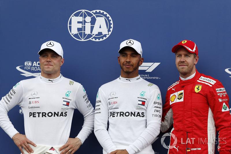 Valtteri Bottas, Mercedes-AMG F1, Lewis Hamilton, Mercedes-AMG F1 i Sebastian Vettel, Ferrari w parku zamkniętym