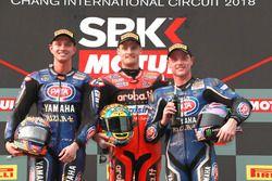 Podium: second place Michael van der Mark, Pata Yamaha, Race winner Chaz Davies, Aruba.it Racing-Ducati SBK Team, third place Alex Lowes, Pata Yamaha
