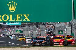 Scott Pye, Walkinshaw Andretti United Holden, leads Fabian Coulthard, DJR Team Penske Ford, and Scott McLaughlin, DJR Team Penske Ford