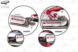 Comparaison des dérives de l'aileron avant de la Ferrari SF70H, GP des États-Unis