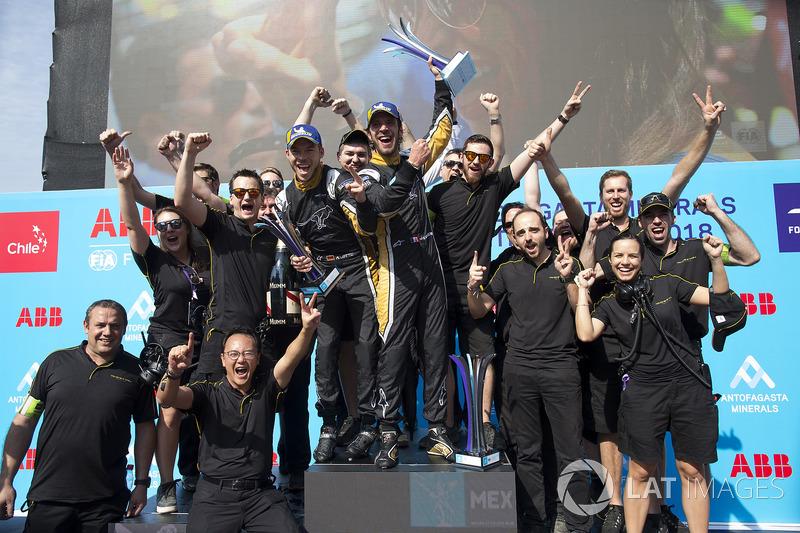 The Techeetah team celebrate with Jean-Eric Vergne, Techeetah, Andre Lotterer, Techeetah, on the podium