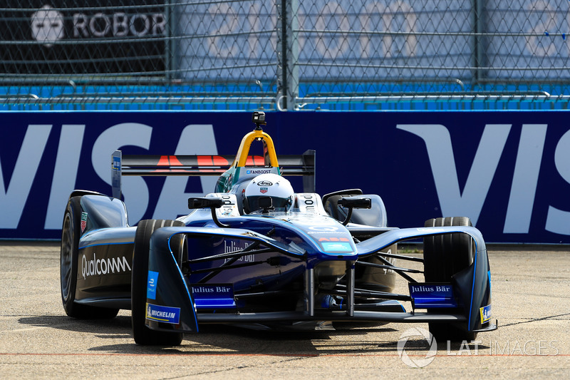 German Football Star Lothar Matthäus, drives the Formula E track car