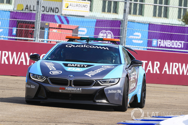 German Football Star Lothar Matthäus, in the BMW i8 Qualcomm safety car with Bruno Corriea
