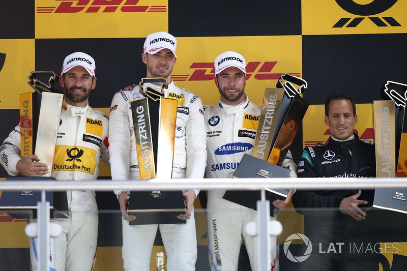 Podio: il vincitore della gara Edoardo Mortara, Mercedes-AMG Team HWA, il secondo classificato Timo Glock, BMW Team RMG, il terzo classificato Philipp Eng, BMW Team RBM