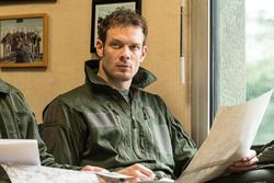 Alexander Wurz takes notes before a French Air Force fighter pilot ridealong