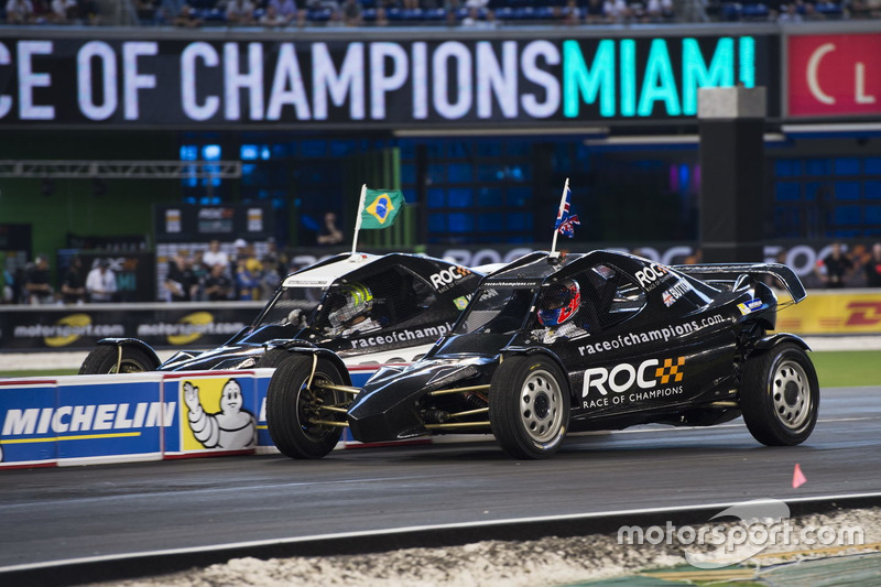 Jenson Button, races Tony Kanaan, in the ROC Car