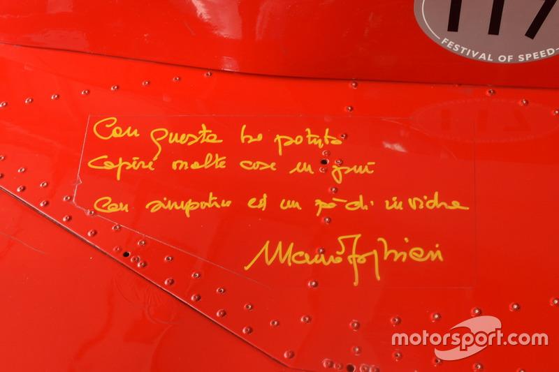Послание и автограф Мауро Форгьери, Ferrari 312 B3