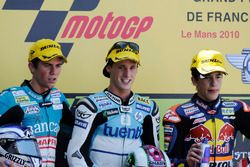 Podium: second place Nicolás Terol, Race winner Pol Espargaro, third place Marc Marquez