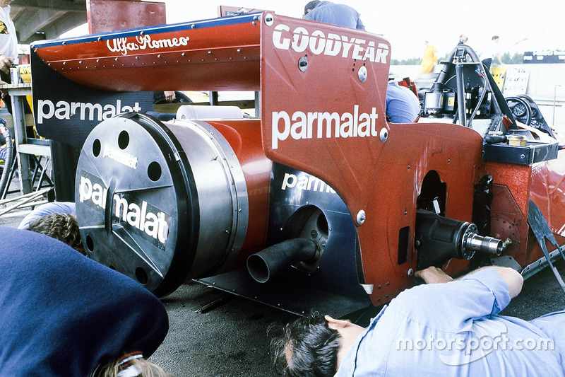 The rear end of Niki Lauda's Brabham BT46B Alfa Romeo fan car. After his 1st position in the race, the car was promptly and controversially banned before the next Grand Prix