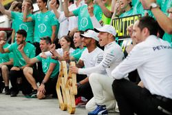 Valtteri Bottas, Mercedes AMG F1, celebrates his victory, his team and Lewis Hamilton, Mercedes AMG