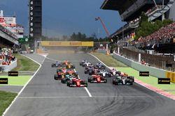 Sebastian Vettel, Ferrari SF70H leads at the start of the race