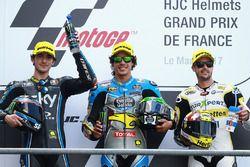 Podium: segundo, Francesco Bagnaia, Sky Racing Team VR46, ganador, Franco Morbidelli, Marc VDS, terc