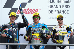 Podium: second place Francesco Bagnaia, Sky Racing Team VR46, winner Franco Morbidelli, Marc VDS, third place Thomas Luthi, CarXpert Interwetten