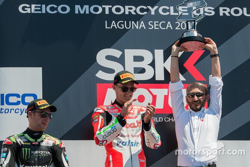 Подіум: переможець гонки Чаз Девіс, Ducati Team, друге місце Джонатан Рей, Kawasaki Racing