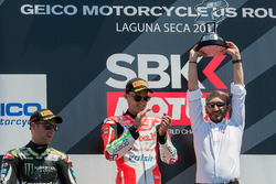 Podium: winner Chaz Davies, Ducati Team, second place Jonathan Rea, Kawasaki Racing