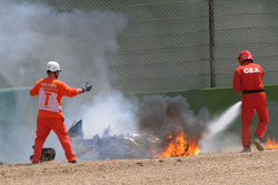 Eugene Laverty, Milwaukee Aprilia World Superbike Team bike on fire