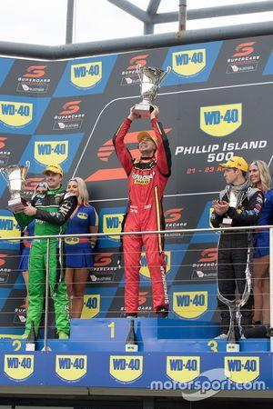 Podium: race winner Chaz Mostert, Rod Nash Racing Ford, second place Mark Winterbottom, Prodrive Racing Australia Ford, third place David Reynolds, Erebus Motorsport Holden
