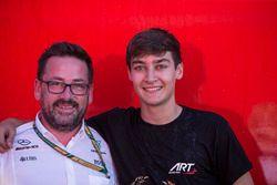 George Russell, ART Grand Prix fête le titre avec son équipe