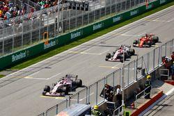 Sergio Perez, Sahara Force India F1 VJM10, Esteban Ocon, Sahara Force India F1 VJM10 and Sebastian Vettel, Ferrari SF70H
