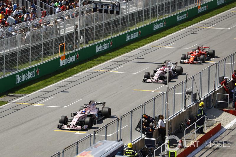 Sergio Pérez, Esteban Ocon, Sebastian Vettel
